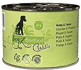 dogz finefood Cibo umido per cani – N° 4 pollo & fagano – Cibo umido per cani e cuccioli – senza cereali e senza zucchero – Alta percentuale di carne, 6 x 200 g lattine
