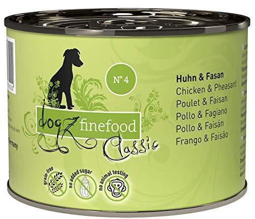 dogz finefood Comida húmeda para Perros – N° 4 Pollo & faisán – Comida húmeda para Perros & Cachorros – Sin Cereales ni azúcar – Alto Contenido de Carne – 6 x 200 g Lata