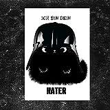 TinyTami  Witzige Katzen Postkarte  Kater MOO ' Ich bin dein Kater'  Darth Vader  Star Wars  schwarze Katze Grußkarte  Vatertag 100% Handmade