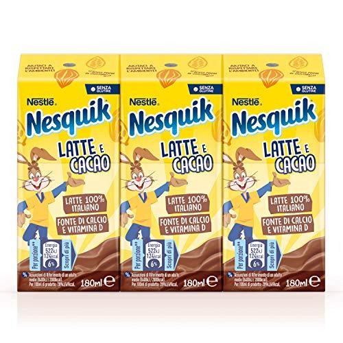 Nesquik Pronto da Bere Bevanda a Base di Latte e Cacao 8 Confezioni da 3 Brick