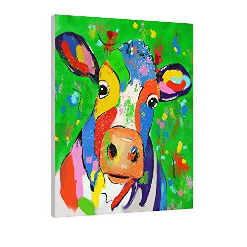 FajerminArt Malen nach Zahlen für Kinder und Erwachsene DIY Ölgemälde Geschenk-Kits mit Holzrahmen Bedruckte Leinwand Kunst Home Decoration-Bemalte Kühe 30 * 40cm