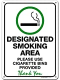 Designated Smoking Area Sign Use Cigarette Bin Provided, Made Out of .040 Rust-Free Aluminum, Indoor/Outdoor Use, UV Protected and Fade-Resistant, 10' x 14', by My Sign Center
