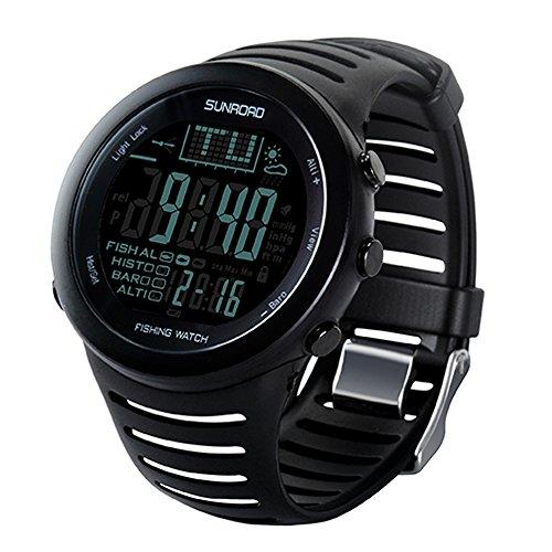 beetest-eu-multi-function digitale 50m impermeabile pesca Previsioni Meteo Barometro Altimetro Termometro Smart Orologio da polso Smartwatch con retroilluminazione, colore: nero
