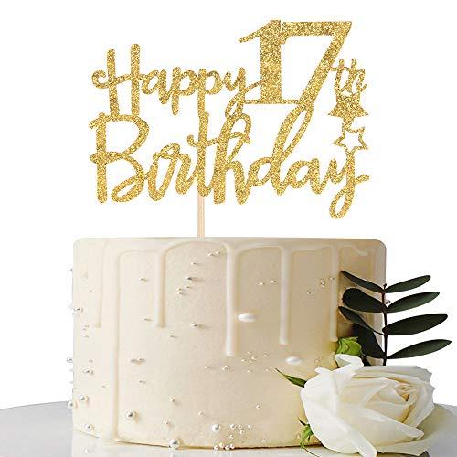 Gold Glitter Happy 17th Birthday Cake Topper - 17 Cake Topper - 17th Birthday Party Supplies - 17th Birthday Party Decorations