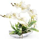 YOBANSA Orchid Bonsai Artificial Flowers with Imitation Porcelain Flower Pots Phalaenopsis Fake Flowers Arrangements for Home Decoration (White 1)