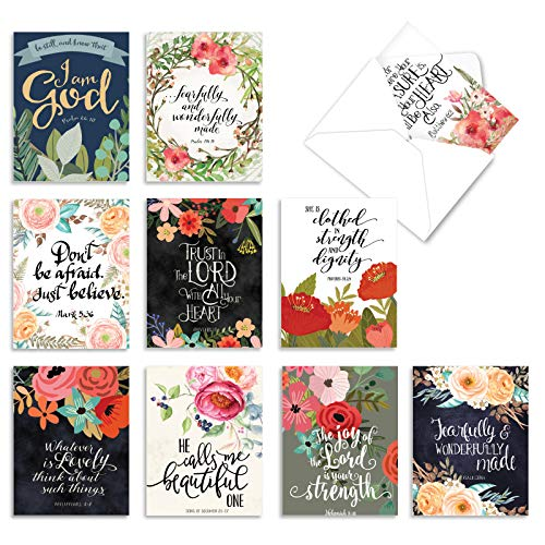 The Best Card Company - 10 Blank Inspirational Note Cards Boxed (4 x 5.12 Inch) - Praise Papers M6635OCB