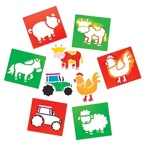 """Baker Ross Schablonen """"Bauernhof"""" zum Malen (6 Stück) – Schablonenset aus abwaschbarem Kunststoff für Kinder"""