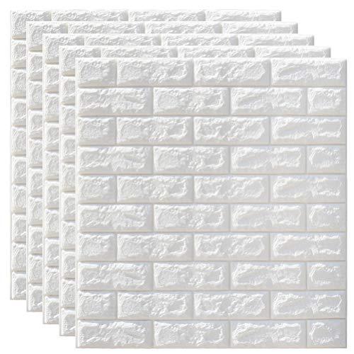 GARNECK 5 Piezas 3D Pegatinas de Pared de Ladrillo Impermeable PE Espuma Papel Tapiz Blanco para Sala TV Pared Y Decoración del Hogar (Blanco)