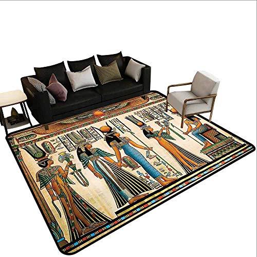 Outdoor tapijt Egyptische, Egyptische Papyrus Depicting Queen Nefertari Het maken van een aanbod aan Isis Image Print,Multi kleuren