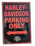 Harley-Davidson Tin Sign, H-D Embossed Parking Only Sign, Black 2010971