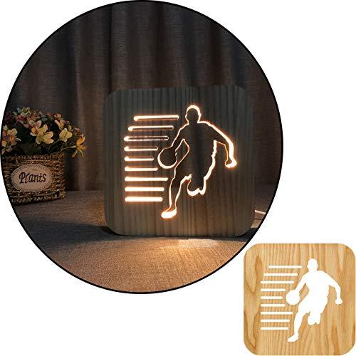 Pose de baloncesto 3D de madera tallada tallada caliente lámpara de mesa ligera, lámpara de noche 2.5W, lámpara de vivero, decoración del hogar o regalos para niños y adultos, sala de estar de dormito
