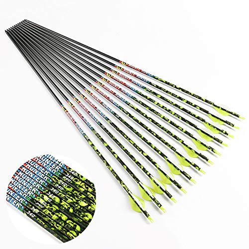 Linkboy Archery Carbon Arrows Hunting Practice Target Removable Tip Points 30 inch Shaft Vanes Arrows for Compound Recurve Long Bows Spine 300 Yellow Pack of 12