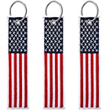 3 Pieces American Flag Keychain Tag with Key Ring 4 of July Independence Day for Keys, Cars, Motorcycles, Backpacks, Luggage, and Present (Red, Blue)