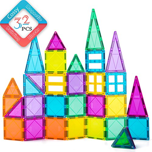 cossy 32Pcs Magnet Tiles Magnetic 3D Building Blocks Set Educational Construction Toys for 3+ Year Kids with Rivets-Fastened, Inspirational, Recreational, Conventional, Multicolor
