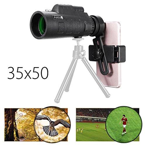 PANDA 35x50 BAK4 Camera Lens Monocular Telescope+Phone Clip Holder for Cell Phone