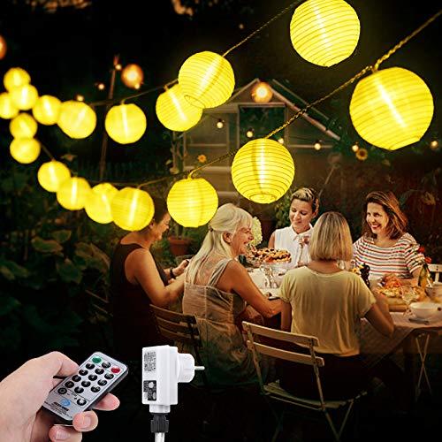 40 LED Lichterkette Lampions Außen,13 Meter Strombetrieben Lichterkette Innen mit Fernbedienung Timer, IP65 Wasserdicht Lichterkette Warmweiße für Party Weihnachten Garten und Innendeko