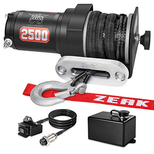 ZEAK 2500 lb. Advanced Off-Road 12V DC ATV/UTV Electric Winch, Synthetic Rope with Mini-Rocker Solenoid Kit