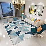 La alfombras Decoracion Comedor Geometría Triangular Azul Gris Suave y fácil de Limpiar Sala de Estar Alfombra Dormitorio Juvenil Alfombra Bebe 140*200cm