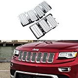 jeep grand cherokee grille guard - Danti Latest Honeycomb Matte Mesh Front Grill Grille Inserts Cover Kit 7 pc for Jeep Grand Cherokee 2014 2015 2016 (Silver)