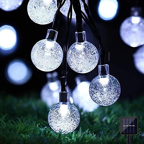 Cadena de luces solares para jardín, 60 LED bolas de cristal luces de hadas impermeables luces solares al aire libre iluminación decorativa para jardín/patio/fiesta/festival de Navidad (blanco frío)