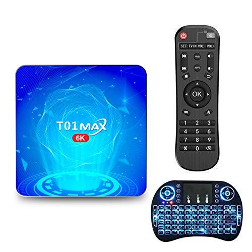 GEQWE Caja De TV Android 10.0 [4G + 64G] con Mini Teclado H616 De Cuatro Núcleos De 64 bits, Wi-Fi-Dual 5G / 2.4G, BT 4.0, 4K * 2K UHD H.265, Caja De TV Inteligente USB 3.0,4gb+64gb
