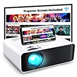 Projector, GooDee WiFi Mini Projector with Projector Screen, Synchronize Wireless Video Projector LED 1080p Full HD, Portable Home Movie Projector Compatible with TV Stick/DVD/USB, iOS/Android Phone