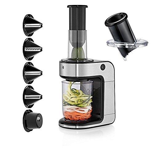 WMF Kult Pro Gemüsenudeln Spiralschneider elektrisch, Zoodle Maker, Zucchini Nudeln Schneider, 5 Schneideinsätze mit Extra-Aufsatz, Auffangbehälter