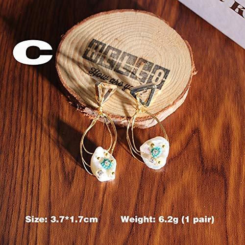 FKLMRKL Pendientes De Perlas con Forma, Pendientes De Plata S925, Pendientes De Diseño Creativo, para Indumentaria, Decoración Diaria,C