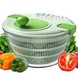 LIMENT Salad Spinner Large Lettuce Spinners With Secure Lid Lock & Rotary Handle, Drain Lettuce, Wash Vegetable, Vegetable Dryer with Quick Dry Design, Bowl, Colander, 3.8 QT, Bpa-free, Green