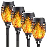 KAQ 4pk Solar Lights Outdoor Decorative, Upgraded Solar Torch Light with Flickering Flame, Waterproof Landscape Lighting for Patio Pathway Garden - Dusk to Dawn Auto On/Off