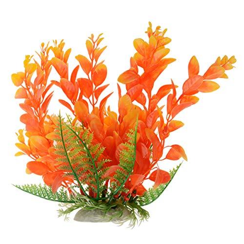 Saim Jardin Plastique décoratif Plante décoratif pour aquarium, 17 cm, Rouge et jaune
