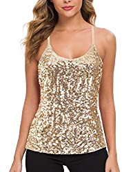 Champagne Sequin Party Strappy Tank Top Sparkle Cami