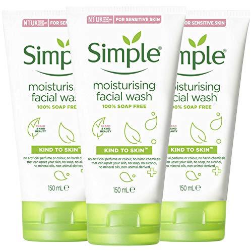 Simple Kind to Skin Moisturising Facial Wash, 100% Soap Free, Sensitive Skin, 150ml - Pack of 3