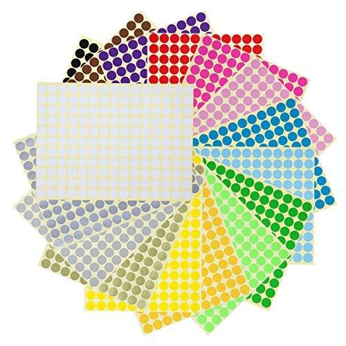 1cm Gomets Colores Surtidos Pegatinas Redondas Adhesivas en 16 Colores, 5280 Piezas, Pegatinas Circulos Colores Adhesivos de Diámetro 1cm - 32 Hojas