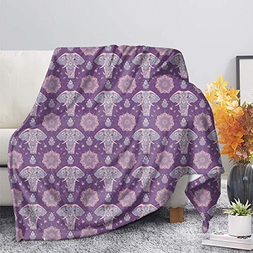 COEQINE Manta de franela con diseño azteca de elefante zen, para niñas/niños, suave, acogedora, ligera, para sofá, cama, sala de estar