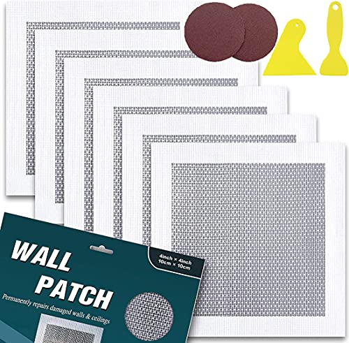 Drywall Repair Patch - 6 Pack Self Adhesive Fiberglass Wall Repair Patch Kit - Quick Solution to Fill The Holes in Your Walls - 4