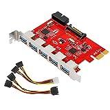 MoKo 5 Puertos de PCI-E Adaptador de Tarjeta de Expansión USB 3.0, Incluye 5 Puertos Externos y 1...