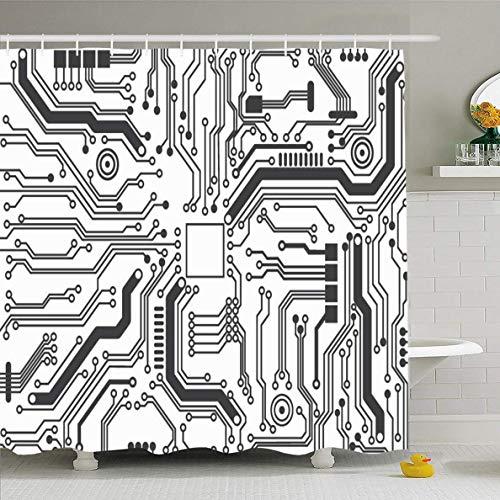 N/A Douche Gordijn 72x72 Inch Processor Circuit Board Technologie Chip Technisch Moederbord Abstract Zwarte Lijn Ontwerp Waterdichte Polyester Stof Badkamer Gordijnen Set met Haken