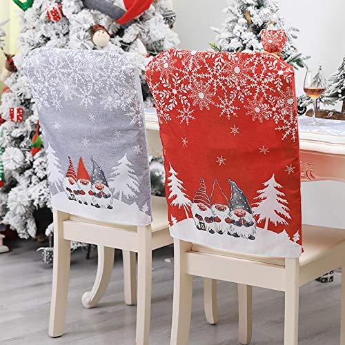 Stuhlhussen Weihnachten Stuhlbezug Rot Nikolausmütze Stuhl Stuhlüberzug Weihnachtsmütze Weihnachtsdeko für Weihnachten Dinner Party Stuhl Hussen Dekor (C - 2 Stück)