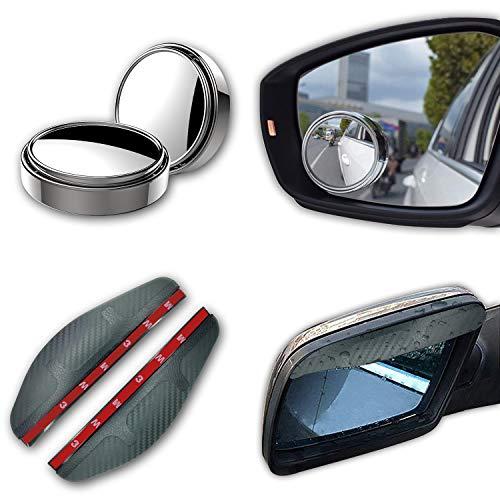 2 Stücke verstellbare Seiten Konvexe Spiegel fürs Auto und 2 Stücke Auto Seitenspiegel Regenschutz Abdeckkappe, 360 ° Verstellbarer Toter-Winkel-Spiegel,für Alle Arten von Autos