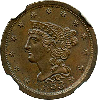 1853 P Half Cents Half Cent MS65 NGCCAC BN