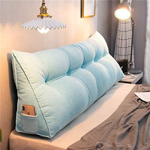 Lanrui Keil Bett Kissen for Erhöhte Schlaf Dreieck Lesekissen Corduroy Große Rückenlehne Positionierung Unterstützung Keil-Kissen Sky Blue 100x20x50cm