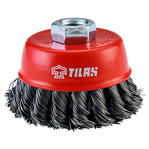 TILAX Wire Wheel Brush Cup Brush, Twisted Knotted Cup Brush for Grinders, 5/8 Inch-11 Threaded Arbor, 0.020 Inch x 3 Inch for Heavy Cleaning Rust, Stripping and Abrasive, for Angle Grinder