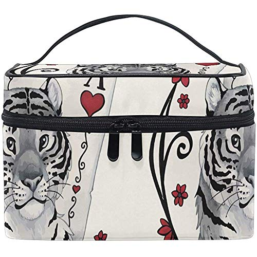 Make-up tas retro speelkaarten poker tijger draagbare grote cosmetische toilettas Train Case Organizer Box Pouch