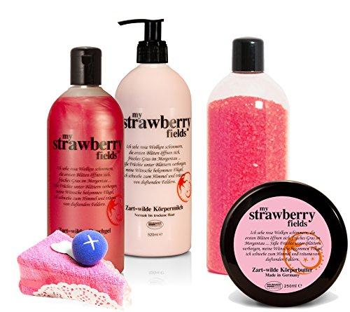 """BRUBAKER Happiness\""""My Strawberry Fields\"""" Geschenkset Erdbeer mit Body Lotion, Duschgel, Körperbutter, Badesalz und Magic Towel"""