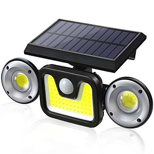 Solar Light Outdoor, LED Wall Light Motion Sensor Waterproof Ip65 Wireless Solar Powered 3 Modes 120 Angle Adjustable Security Light for Garden, Garage, Yard, Doorway, Patio, Porch