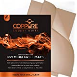 Coppure Premium Copper Grill Mats - Non Stick BBQ Grilling Mats [Set of 2] Reusable and Easy to Clean - Great for Grilling & Baking On Gas Grills, Charcoal, Smokers, Ovens and More