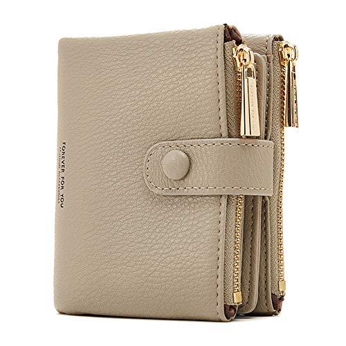 Damen Geldbeutel,PU Leder Portemonnaie Kleine Brieftasche Geldbörse Für Frauen (Grau)