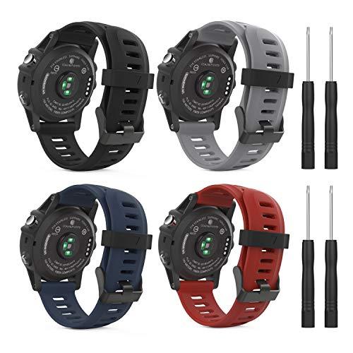 MoKo Armband für Garmin Fenix 3/3 HR/5X/5X Plus/D2 Delta PX/6X/6X Pro - [4 Stü.] Silikon Sportarmband Uhr Band Strap Ersatzarmband Uhrenarmband mit Werkzeug, Multicolor A