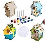 Starich Juego de 4 pajareras para manualidades, para niños, para pintar, para niños de 4 a 8 años, juguete de madera con cordón, 12 colores y una bandeja de pintura, regalo para cumpleaños de niños